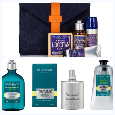 image of a selection of L'Occitane gifts suitable for fathers day